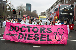 December 10, 2016 - London, London, United Kingdom - Image ¬©Licensed to i-Images Picture Agency. 10/12/2016. London, United Kingdom. Doctors Against Diesel campaign launch. Campaigners from Doctors Against Diesel gather on Euston Road, London, calling for Sadiq Khan, Mayor of London, to commit to phase out diesel vehicles from London, and for the public to respond to a TFL public consultation in support of the phasing out of diesel in London. Doctors Against Diesel is an emerging group of medical professionals who are drawing attention to the link between the use of diesel fuels, air pollution and a public health emergency. Picture by David Mirzoeff / i-Images (Credit Image: © David Mirzoeff/i-Images via ZUMA Wire)