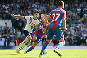 Erik Lamela burst away during the Barclays Premier League match between Tottenham Hotspur and Crystal Palace at White Hart Lane, London, England on 20 September 2015. Photo by Alan Franklin.