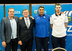 Metod Ropret, Aleksandar Boricic, president of CEV,  Andrea Giani, coach and Alen Pajenk during press conference of Slovenian Volleyball Federation before FIVB Volleyball World League tournament in Ljubljana, on May 5, 2016 in Hotel Spik, Gozd Martuljek, Slovenia. Photo by Vid Ponikvar / Sportida