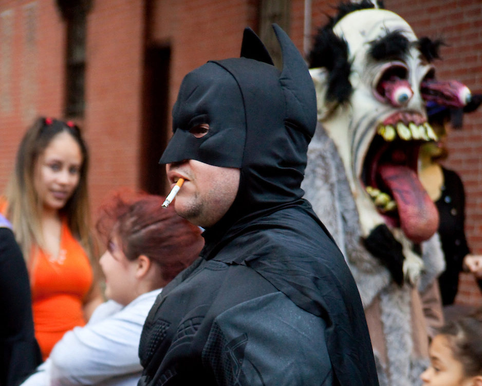 Batman smokes. Taken at the Halloween Day Parade in Park Slope, Brooklyn.