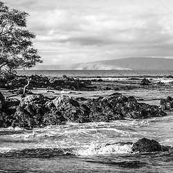 Mokapu Beach Wailea Beach black and white panorama photo in Wailea Makena Maui Hawaii with Kaho'olawe Island Reserve in the background. Panoramic photo ratio is 1:3. Copyright ⓒ 2019 Paul Velgos with All Rights Reserved.