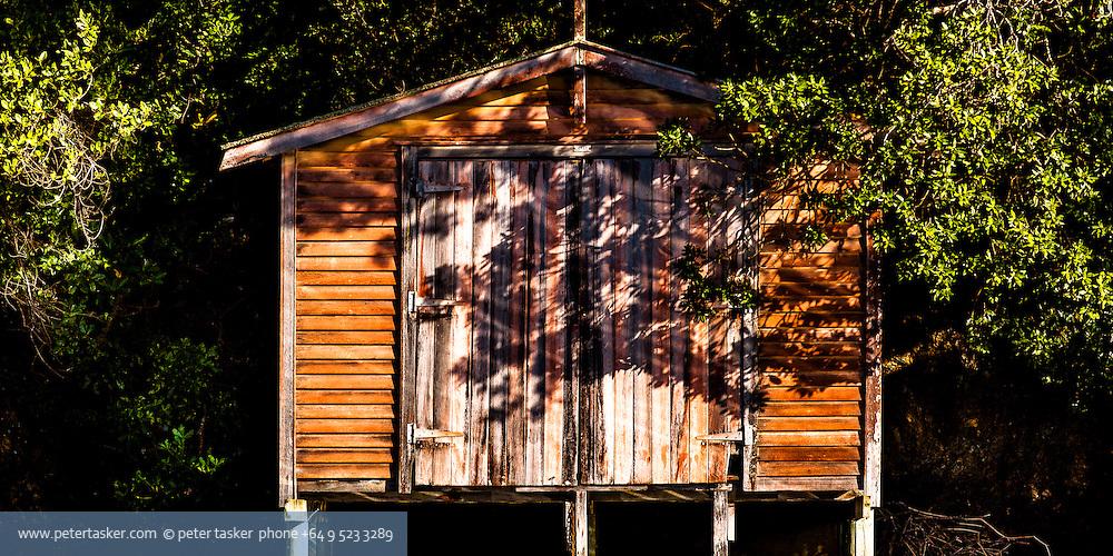 Boat shed, Rocky Bay, Waiheke Island, Auckland, New Zealand.