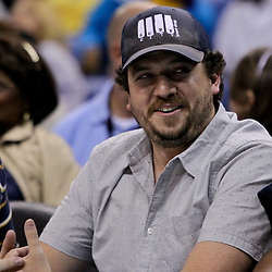 April 19, 2012; New Orleans, LA, USA; Actor Danny McBride sits courtside during the second half of a game between the New Orleans Hornets and the Houston Rockets at the New Orleans Arena. The Hornets defeated the Rockets 105-99.   Mandatory Credit: Derick E. Hingle-US PRESSWIRE