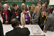 Parliamentary candidates including sitting MP Esther McVey (third from right) watching the count at Bidston Tennis Centre, Wirral for the Wirral West constituency in the 2015 UK General Election. The constituency was held by Esther McVey for the Conservative Party, who won the seat from Labour at the 2010 General Election. The constituency was one of the key marginal seats contested between the two main UK political parties and was won by the Labour Party's Margaret Greenwood (left).