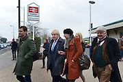 © Licensed to London News Pictures. 20/02/2013. Eastleigh, UK London Mayor and member of the Conservative Party, Boris Johnson (blue tie), arrives via train to start campaigning in the Eastleigh By-Election today 20th February. Photo credit : Stephen Simpson/LNP