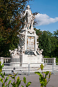 Mozart monument at the Hofburg Palace and Burggarten park in Vienna, Austria