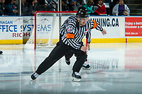 KELOWNA, CANADA - APRIL 7: Referee Kyle Kowalski skates on the ice at the Kelowna Rockets on April 7, 2017 at Prospera Place in Kelowna, British Columbia, Canada.  (Photo by Marissa Baecker/Shoot the Breeze)  *** Local Caption ***