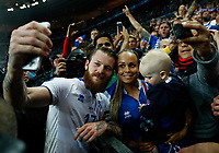 Iceland captain Aaron Gunnarsson taking a selfie with the wife and the son at the end of the match. capitano selfie con moglie e figlio a fine partita<br /> Paris 03-07-2016 Stade de France Football Euro2016 France - Iceland / Francia - Islanda Quarter finals <br /> Foto Matteo Ciambelli / Insidefoto