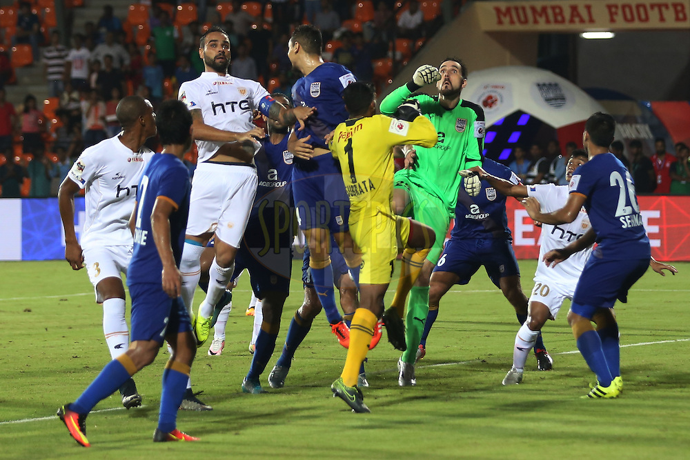 Mumbai City FC goalkeeper Roberto Volpato and other players during match 7 of the Indian Super League (ISL) season 3 between Mumbai City FC and NorthEast United FC held at the Mumbai Football Arena in Mumbai, India on the 7th October 2016.<br /> <br /> Photo by Faheem Hussain / ISL/ SPORTZPICS