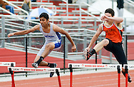 From left, Northern Burlington's Prithish Balakrishnar and Cherokee's Al Panaccio compete in the 400 hurdles at the Burlington County Track and Field Open Championship Boys and Girls at Rancocas Valley High School Saturday May 21, 2016 in Rancocas, New Jersey. (Photo by William Thomas Cain)