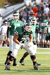 12 October 2013:  Rob Gallik (10) and Garret Laflamme (78) during an NCAA division 3 football game between the North Park vikings and the Illinois Wesleyan Titans in Tucci Stadium on Wilder Field, Bloomington IL