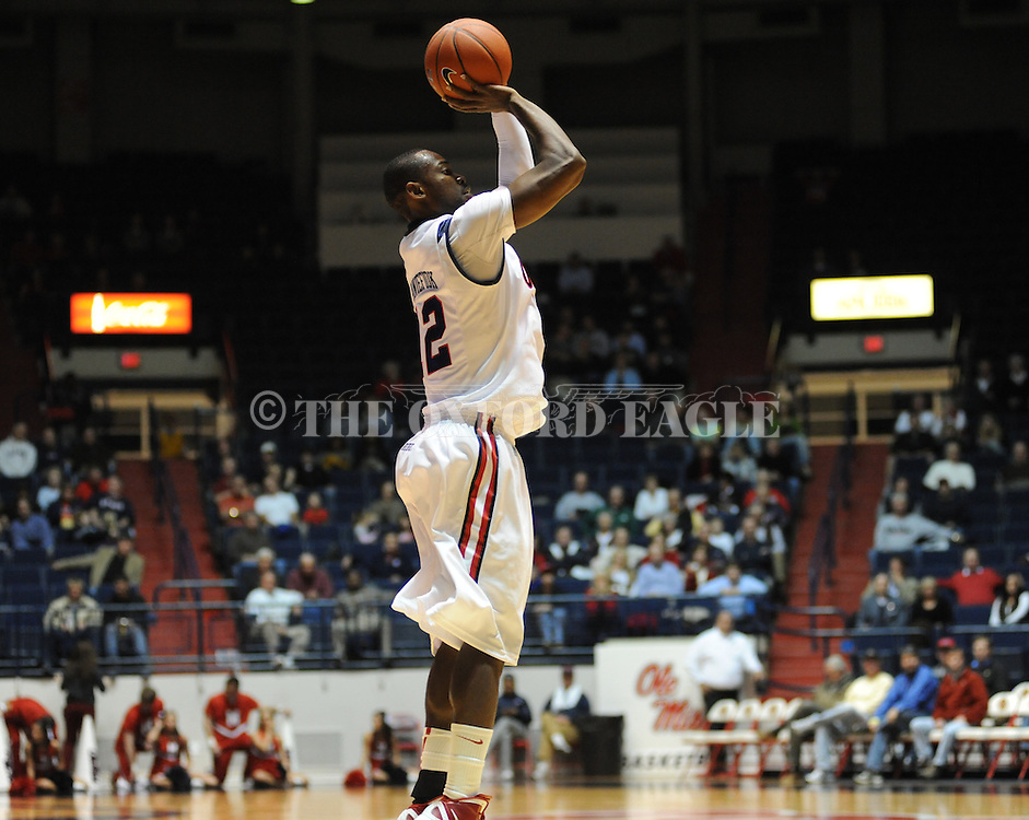 """Ole Miss' Maurice Aniefiok (12)at the C.M. """"Tad"""" Smith Coliseum in Oxford, Miss. on Friday, November 11, 2011. Ole Miss won 60-38 in the season opener."""