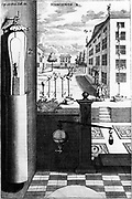Von Guericke's (1602-1686) water barometer.  Fig. I, details of parts: Fig II, complete barometer; water reached 3rd floor, but not 4th. Fig. IV, details of indicator. Fig II is apparatus for investigation of weight of air. From 'Experimenta Nova u