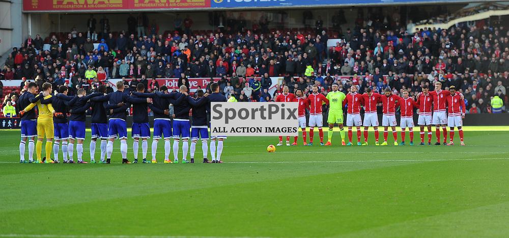 Both teams stand for a minutes remembrance before Nottingham Forest vs Queens Park Rangers, Championship, 5.11.16 (c) Harriet Lander | SportPix.org.uk