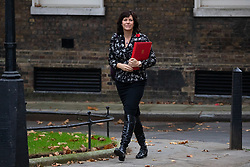 © Licensed to London News Pictures. 06/11/2018. London, UK. Energy and Clean Growth Minister Claire Perry arriving in Downing Street to attend a Cabinet meeting this morning. Photo credit : Tom Nicholson/LNP