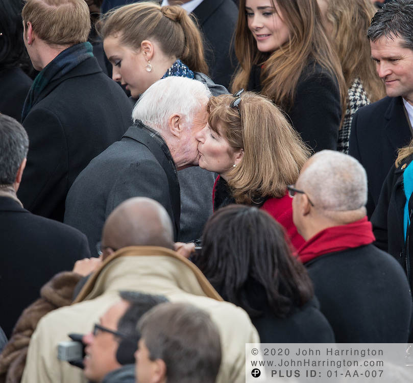 Former President Jimmy Carter and Roslyn Carter at the 57th Presidential Inauguration of President Barack Obama at the U.S. Capitol Building in Washington, DC January 21, 2013.