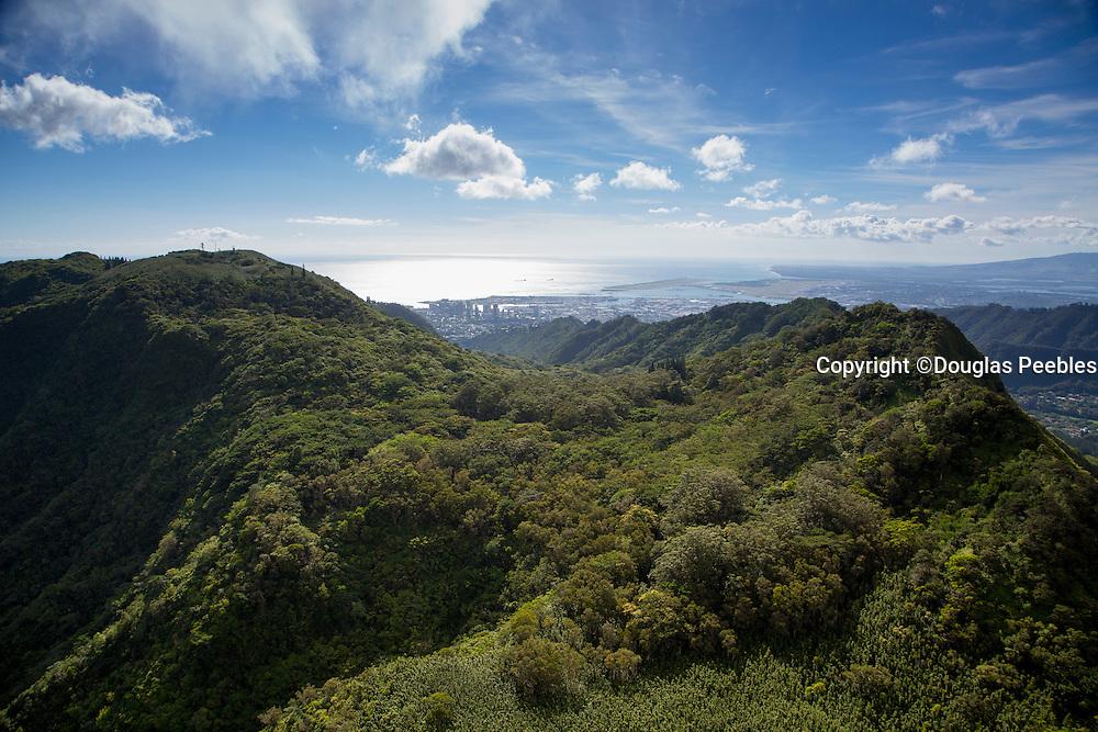 Aerial, ridges, Valley,Honolulu, Oahu, Hawaii