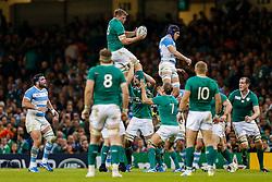 Ireland Flanker Jordi Murphy wins a lineout - Mandatory byline: Rogan Thomson/JMP - 07966 386802 - 18/10/2015 - RUGBY UNION - Millennium Stadium - Cardiff, Wales - Ireland v Argentina - Rugby World Cup 2015 Quarter Finals.