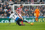 Newcastle United Midfielder Moussa Sissoko makes a vital tackle  during the Barclays Premier League match between Newcastle United and Stoke City at St. James's Park, Newcastle, England on 31 October 2015. Photo by Craig McAllister.