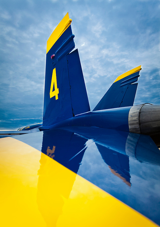 The empennage of the #4 (slot) Blue Angels F-18 Super Hornet.  Naval Air Station Pensacola.