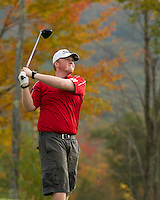 Scott Compton drives off the 15th tee during the NHIAA Division III & IV State Championship Tournament at Ridgewood Country Club in Moultonboro Thursday morning.  (Karen Bobotas/for the Laconia Daily Sun)