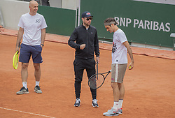 Ivan Ljubicic, Roger Federer, Severin Luthi, training ahead the Roland Garros French Open tournament, on May 21, 2019 in Paris, France. Photo by ABACAPRESS.COM