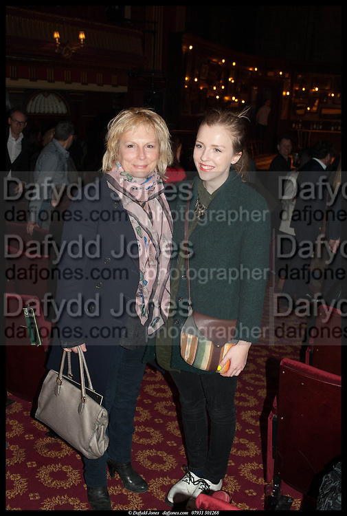 JENNIFER SAUNDERS AND HER DAUGHTER, Once Gala night raising funds for Oxfam's Mother Appeal. Phoenix Theatre. Charing Cross Rd. . London. 17 March 2014.