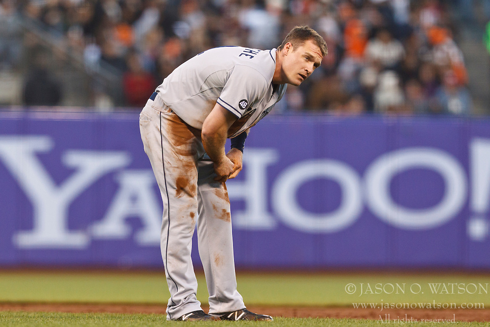 SAN FRANCISCO, CA - JULY 23: Logan Forsythe #11 of the San Diego Padres reacts after attempting to steal second base against the San Francisco Giants during the third inning at AT&T Park on July 23, 2012 in San Francisco, California. The San Francisco Giants defeated the San Diego Padres 7-1. (Photo by Jason O. Watson/Getty Images) *** Local Caption *** Logan Forsythe
