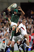 South African lock Victor Matfield in action during the Rugby World Cup pool match between England and South Africa at Subiaco Oval, Perth, Australia on Saturday 18 October, 2003. Photo: Barry Bland/PHOTOSPORT<br /> <br /> 181003