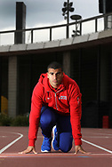 Sprinter Adam Gemili of Great Britain poses with IAAF World Championships London 2017 Mascot Hero the Hedgehog during a photo shoot at The London Stadium on May 4, 2017 in London, England. Tickets for the championships are currently on sale at tickets.london2017athletics.com