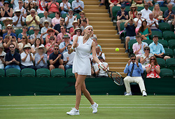 LONDON, ENGLAND - Saturday, July 6, 2019: Petra Kvitova (CZE) celebrates after the Ladies' Singles third round match on Day Six of The Championships Wimbledon 2019 at the All England Lawn Tennis and Croquet Club. Kvitova won 6-3, 6-2. (Pic by Kirsten Holst/Propaganda)