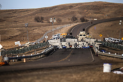 November 25, 2016 - Cannon Ball, North Dakota, U.S - A fortified barricade on Highway 1806 blocks access to the construction site of the Dakota Access Pipeline near the Oceti Sakowin Camp at the Standing Rock Indian Reservation in Cannon Ball, North Dakota. (Credit Image: © Joel Angel Ju‡Rez via ZUMA Wire)
