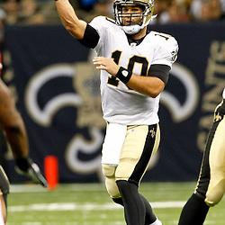 August 12, 2011; New Orleans, LA, USA; New Orleans Saints quarterback Chase Daniel (10) against the San Francisco 49ers during the first half of a preseason game at the Louisiana Superdome. Mandatory Credit: Derick E. Hingle