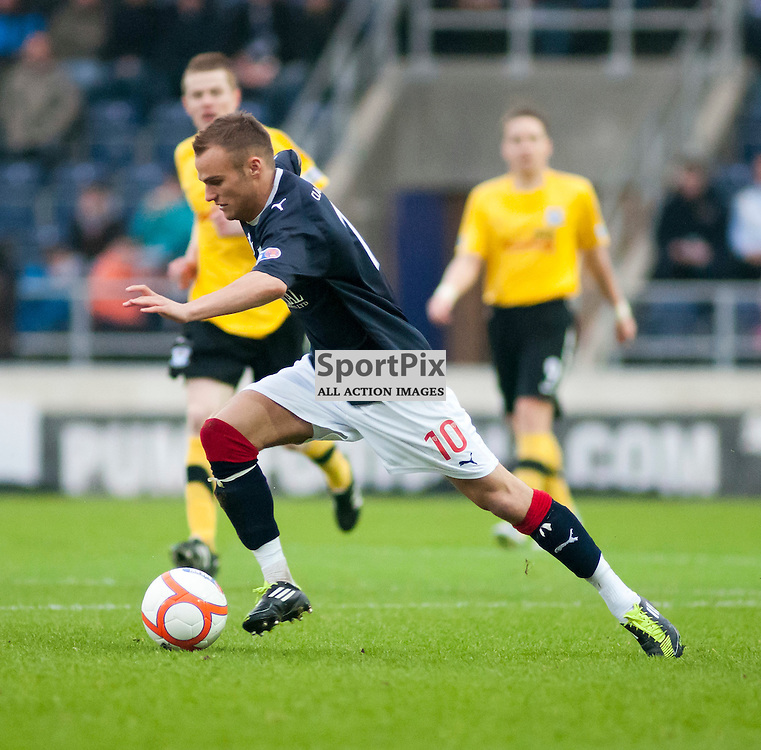 Kallum Higginbotham runs at the Ayr defence,Falkirk v Ayr, SFL Division 1 League Match, Falkirk Stadium