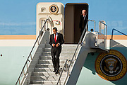 17 FEBRUARY 2009 -- PHOENIX, AZ: President Barack Obama walks off Air Force One during the arrival of President Barack Obama at Sky Harbor Airport Tuesday.   PHOTO BY JACK KURTZ