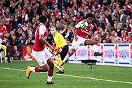 July 15 2017: Arsenal player Ainsley Maitland-Niles (30) keeps the ball in at the International soccer match between English Premier League giants Arsenal and A-League team Western Sydney Wanderers at ANZ Stadium in Sydney.