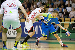 Aleks Vlah of Slovenia during friendly handball match between National teams of Slovenia and Belarus, on April 8, 2018 in Sports hall Tri Lilije, Lasko, Slovenia. Photo by Urban Urbanc / Sportida