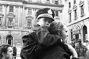 Little boy joins the protest on his father's shoulders, 3rd Criminal Justice March,  London, 9th of October, 1994