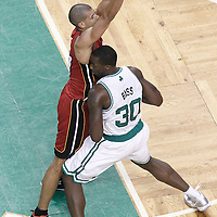 07 June 2012: Miami Heat small forward Shane Battier (31) defends on Boston Celtics power forward Brandon Bass (30) during first half of Game 6 of the Eastern Conference Finals playoff series, Heat at Celtics at the TD Banknorth Garden, Boston, Massachusetts, USA.