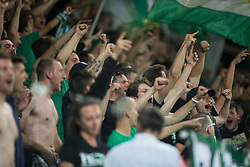 Green Dragons, suuporters of Olimpija during football match between NK Aluminij and NK Olimpija Ljubljana in the Final of Slovenian Football Cup 2017/18, on May 30, 2018 in SRC Stozice, Ljubljana, Slovenia. Photo by Vid Ponikvar / Sportida