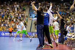 Players of Team Slovenia during handball match between National teams of France and Slovenia in Final of 2018 EHF U20 Men's European Championship, on July 29, 2018 in Arena Zlatorog, Celje, Slovenia. Photo by Urban Urbanc / Sportida