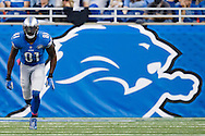 Detroit Lions wide receiver Calvin Johnson (81) gets set to run a route against the Arizona Cardinals during an NFL football game at Ford Field in Detroit, Sunday, Oct. 11, 2015. (AP Photo/Rick Osentoski)