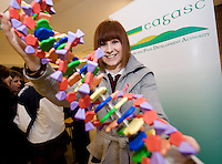 Teagasc's Science Week  saw secondary schools from County Galway attend Teagasc Athenry.  Lauren Niland Presentation College Athenry with a 3d DNA model. Photo:Andrew Downes. Photo issued with compliments, no reproduction fee.