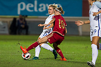 England's Isabel Chrisriansen Spain's Amanda Sampedro during the frendly match between woman teams of  Spain and England at Fernando Escartin Stadium in Guadalajara, Spain. October 25, 2016. (ALTERPHOTOS/Rodrigo Jimenez)
