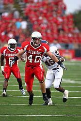 08 September 2007: Tight end Bert Wigham looks to make a block for a running back. The Murray State Racers were defeated by the Illinois State Redbirds 43-17 in a nightcap at Hancock Stadium on the campus of Illinois State University in Normal Illinois.