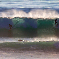 USA, California, San Diego. Surfers share wave at Cardiff by the Sea.