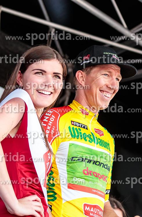 04.07.2017, Pöggstall, AUT, Ö-Tour, Österreich Radrundfahrt 2017, 2. Etappe von Wien nach Pöggstall (199,6km), Siegerehrung, im Bild Träger des gelben Trikots Sep Vanmarcke (BEL, Cannondale Drapac Professional Cycling Team) // Yellow Jersey Sep Vanmarcke of Belgium (Cannondale Drapac Professional Cycling Team) on podium during the 2nd stage from Vienna to Pöggstall (199,6km) of 2017 Tour of Austria. Pöggstall, Austria on 2017/07/04. EXPA Pictures © 2017, PhotoCredit: EXPA/ JFK