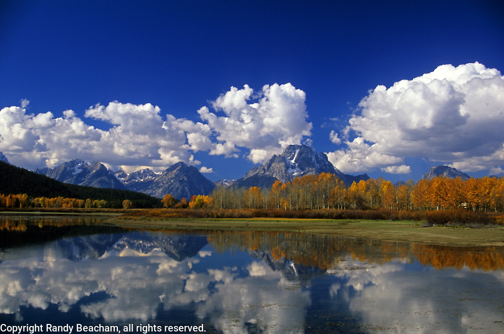 The Grand Tetons and the Snake River in fall. Grand Teton National Park, Wyoming