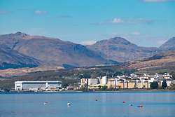 View HMNB Clyde the British naval submarine base at Faslane on the Gare Loch in Argyll & Bute, Scotland, UK