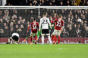Denis Odoi (4) of Fulham scores a goal but it is ruled out for offside during the EFL Sky Bet Championship match between Fulham and Middlesbrough at Craven Cottage, London, England on 17 January 2020.